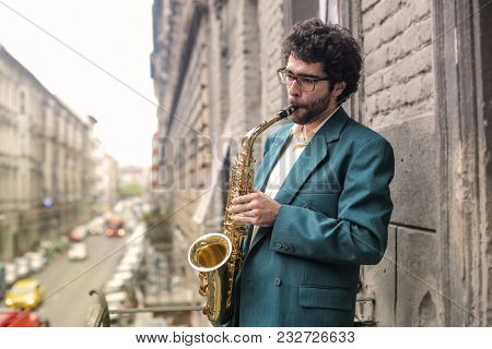 Young player with trumpet