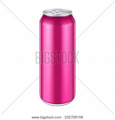 Pink Violet Purple Magenta Metal Aluminum Beverage Drink Can 500ml, 0, 5l. Mockup Template Ready For