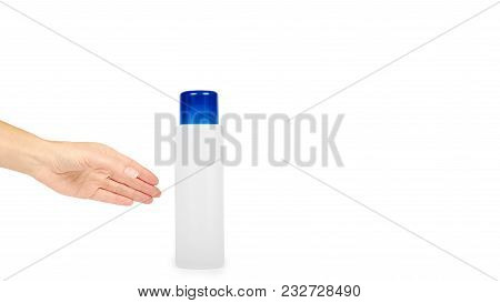 Plastic White Shampoo Bottle With Blue Cap In Hand Isolated On White Background. Gel Dispenser For H