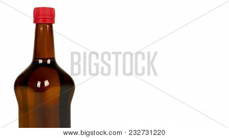 Glass Bottle With Soy Sauce Isolated On White Background. Asian Food. Copy Space, Template.