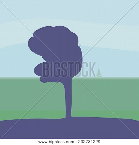 Lonely Purple Blue Tree In The Wind Against The Backdrop Of A Distant Sea Horizon, Lonely Boat Under