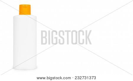 Plastic White Shampoo Bottle With Orange Cap Isolated On White Background. Gel Dispenser For Hair Ca