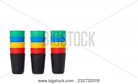 Color Buckets For Game Or Drinks Isolated On White Background. Copy Space, Template.