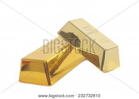 Gold Bullion Bars On A White Background