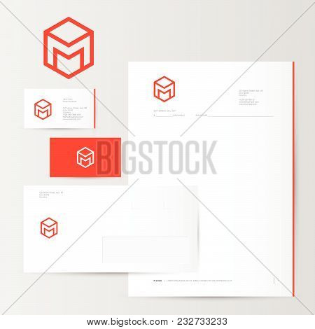 M Logo And Identity. M Box Logo. Red Logo On Business Card, Letter, Envelope.