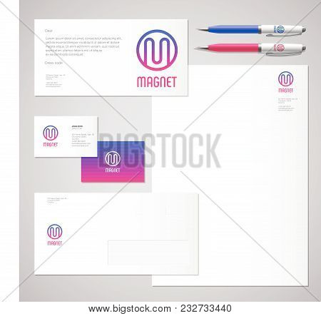 Magnet Logo. M Letter. Industrial Work Identity. Corporate Style, Envelope, Letterhead, Business Car