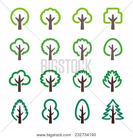 Abstract Tree Line Icon Set Vector And Illustration