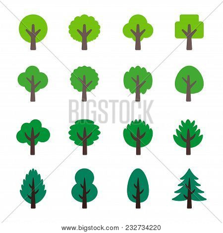 Abstract Tree Icon Set Vector And Illustration