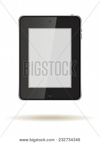 Tablet In Ipad Style Black Color With Blank Touch Screen Isolated On White Background. Stock Vector