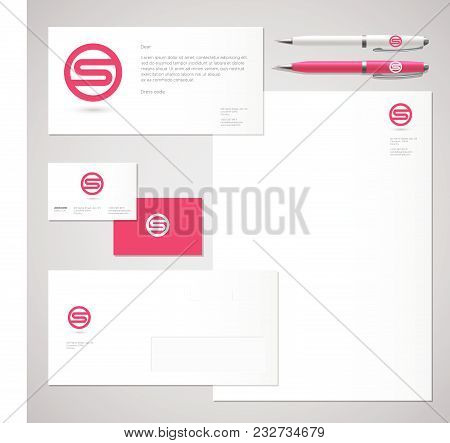 S Logo. S Red Letter Monogram And Identity. Corporate Style, Envelope, Letterhead, Business Card, Pe