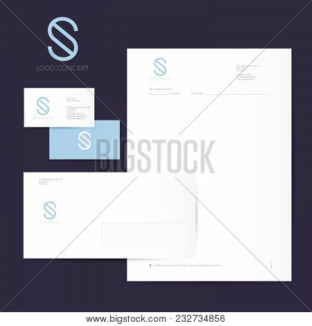 S Logo And Identity. S Blue Monogram Isolated, On Dark Background. Corporate Style, Envelope, Letter