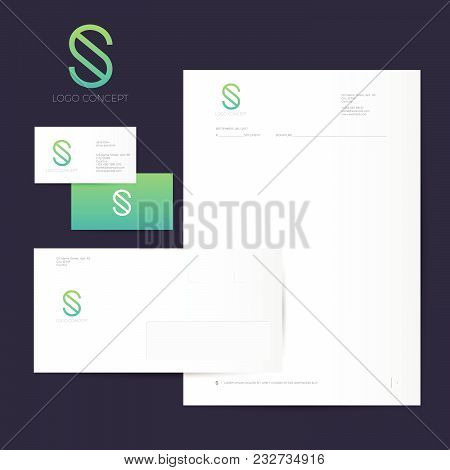 S Logo And Identity. S Green Monogram Isolated, On Dark Background. Corporate Style, Envelope, Lette