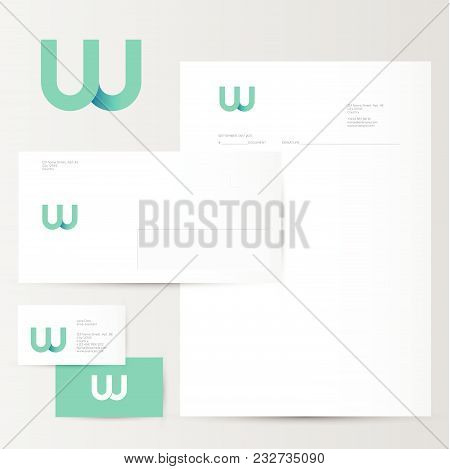 W Logo. W Azure Letter Monogram And Identity. Corporate Style, Envelope, Letterhead, Business Card,