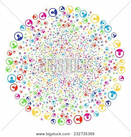 Multi Colored Rounded User Portrait Bang Sphere. Vector Round Cluster Explosion Organized From Scatt