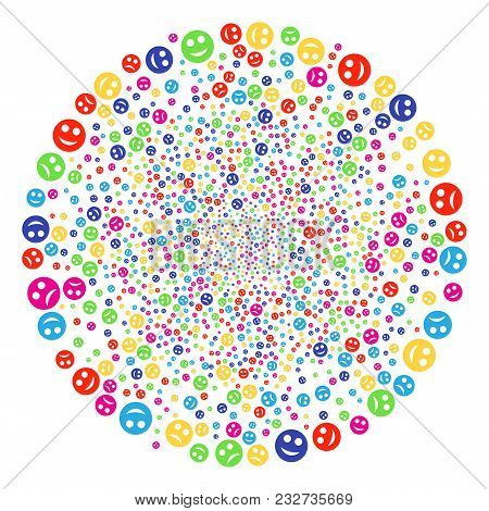 Multicolored Sad And Glad Smiley Burst Cluster. Vector Round Cluster Explosion Designed From Scatter