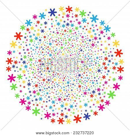 Multicolored Snowflake Festival Round Cluster. Vector Spheric Cluster Salute Done From Random Snowfl