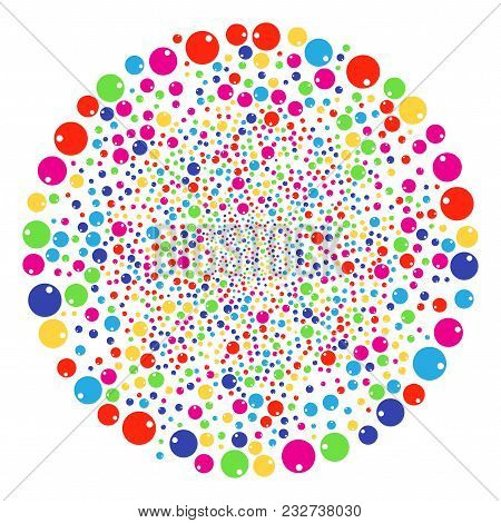 Multi Colored Sphere Exploding Round Cluster. Vector Cluster Bang Combined From Scatter Sphere Objec