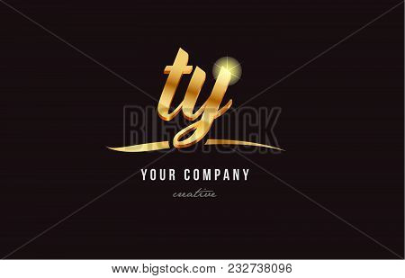 Gold Golden Alphabet Letter Ty T Y Logo Combination Design Suitable For A Company Or Business