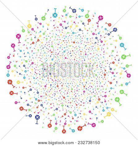 Colorful Spotlight Rack Festival Globula. Vector Spheric Cluster Salute Designed With Scattered Spot