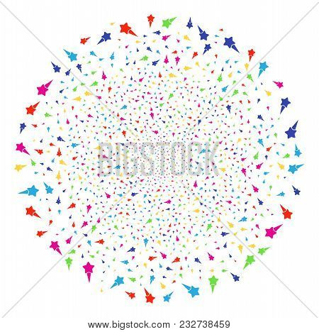 Multicolored Starting Star Festival Sphere. Vector Round Cluster Explosion Created From Scattered St