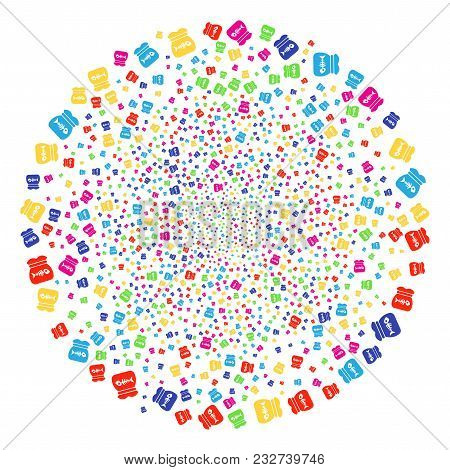 Colorful Toxic Rubbish Sparkler Globula. Vector Sphere Explosion Combined By Randomized Toxic Rubbis