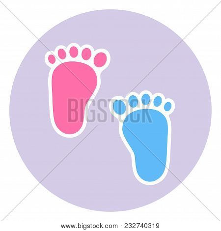 Illustration A Badge Of The Footprint Of The Child.baby Footprints Twin Baby Girl And Boy