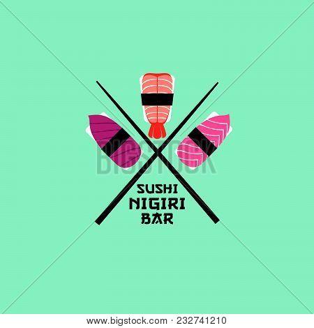 Sushi Logo. Sushi Restaurant Emblem. Sushi-nigiri With Fish And Shrimps On A Light Background