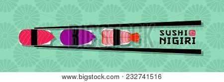 Sushi Illustration. Sushi And Seafood Restaurant Emblem. Sushi With Fish And Shrimps On A Japanese O