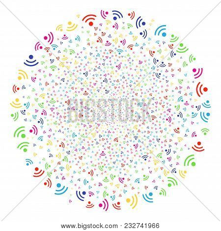 Colorful Wi-fi Sparkler Round Cluster. Vector Sphere Explosion Done From Scattered Wi-fi Elements. M