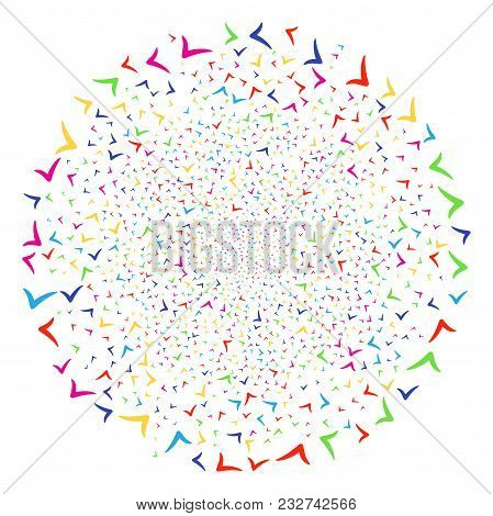 Colorful Yes Fireworks Sphere. Vector Cluster Explosion Organized From Random Yes Items. Colorful Ve