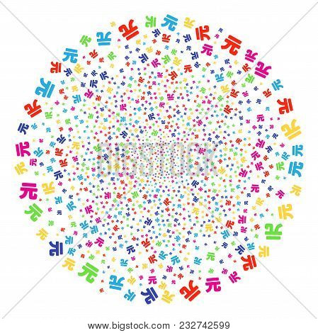 Multicolored Yuan Renminbi Festive Cluster. Vector Globula Fireworks Created From Scatter Yuan Renmi