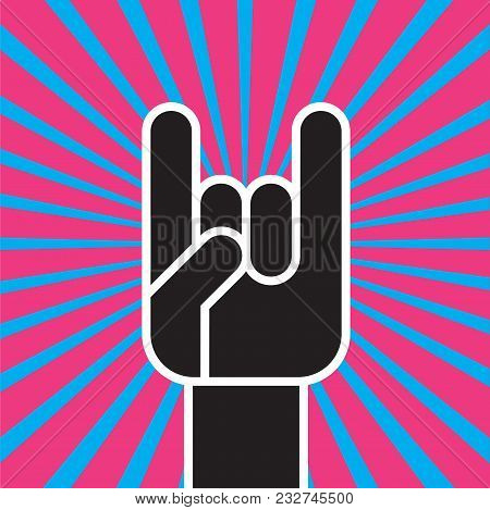 Sign Of The Horns Hand Gesture. Flat Vector Illustration Of Stylized Hand Making The Classic Rock An