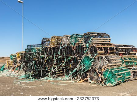 A Selection Of Lobster Pots On Land, In The Small Fishing Village Lista, South Part Of Norway