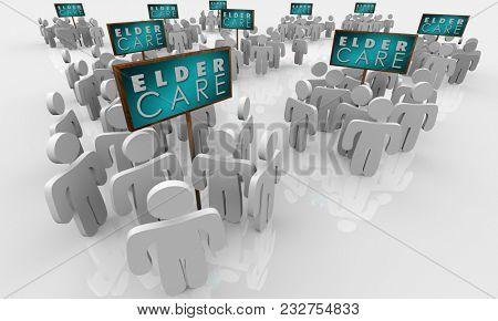 Elder Care Assisted Living Home Elderly Older People Signs 3d Illustration