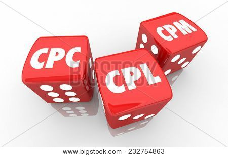 CPC CPL CPM Web Advertising Cost Per Click Lead Thousand Dice 3d Illustration