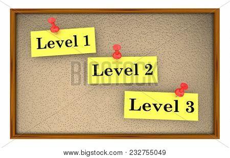 Level 1 2 3 Steps Stages Bulletin Board 3d Illustration