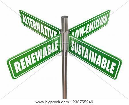 Renewable Sustainable Alternative Low Emission Fuel Signs 3d Illustration