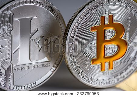 Cryptocurrency Coins - Litecoin, Bitcoin. Macro View Of Coins. Virtual Currency And Money.
