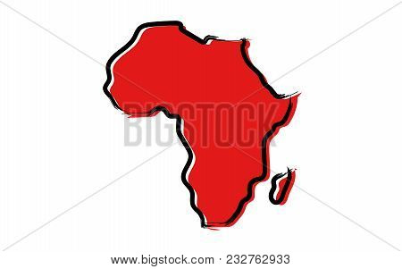 Stylized Red Sketch Map Of Africa Illustration Vector