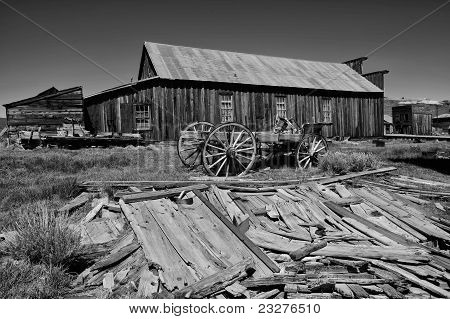 A Cart In Bodie California (black And White)