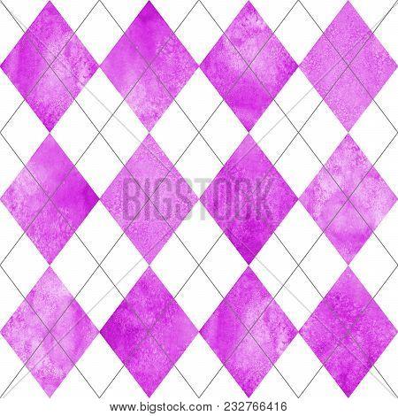 Argyle Seamless Plaid Pattern. Watercolor Hand Drawn Magenta Purple White Texture Background. Waterc