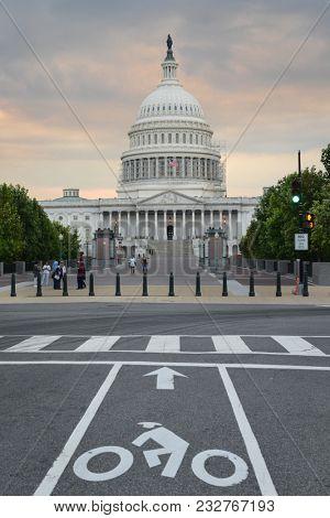 United States Capitol Building at sunset - Washington DC, USA