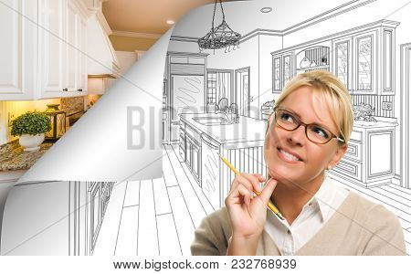 Woman Facing Kitchen Drawing Page Corner Flipping with Photo Behind.