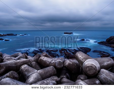 Tetrapods Readied To Protect Sokcho, South Korea From Dangerous Tidal Waves From The East Sea.
