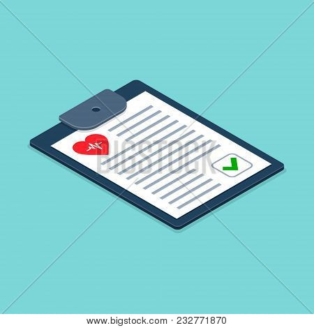 Health Check Form On Clipboard. Vector Medical Checklist Illustration Isometric 3d Health Checkup He