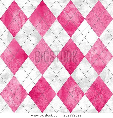 Argyle Seamless Plaid Pattern. Watercolor Hand Drawn Gray White Pink Texture Background. Watercolour