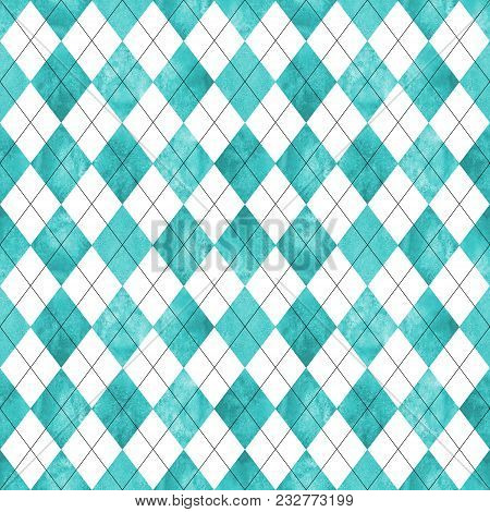 Argyle Seamless Plaid Pattern. Watercolor Hand Drawn Turquoise Blue White Texture Background. Waterc