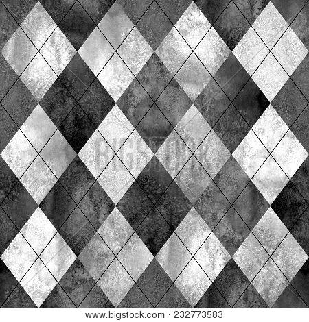 Argyle Seamless Plaid Texture. Watercolor Hand Drawn Black Gray White Pattern Background. Watercolou