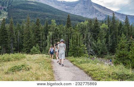 Horizontal Image Of Caucasian Men And Women Hiking In The Mountains And Forest On A Beautiful Summer