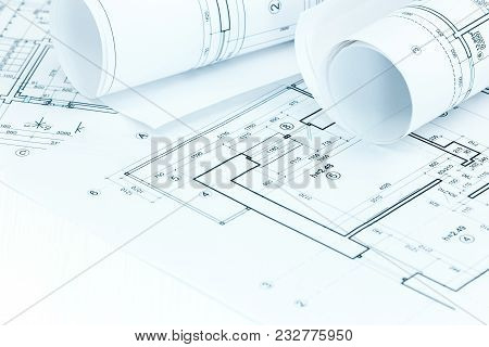 Architectural Blueprints And House Plans.construction Background.